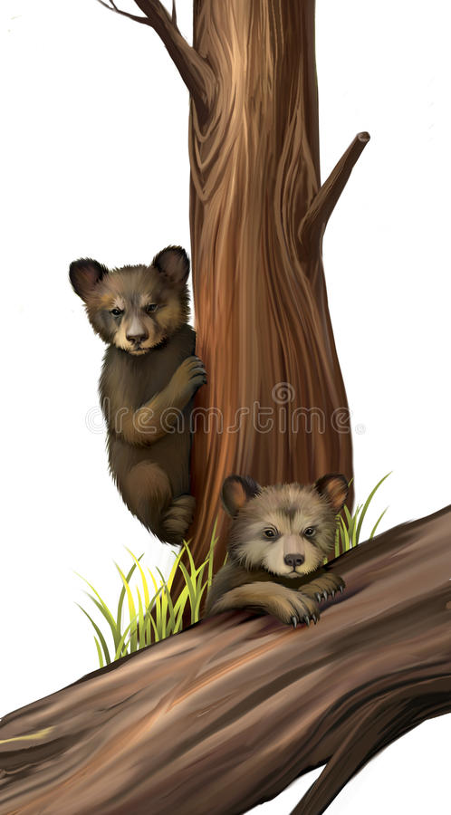 Lite leka för nalle-björn björnar. Stupad tree. royaltyfri illustrationer
