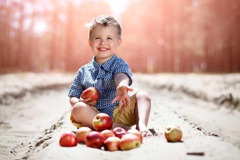 Lite pojke med äpplen royaltyfria bilder