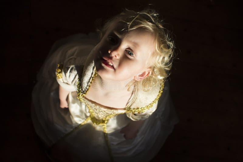 Lite prinsessa i en nätt klänning arkivbild
