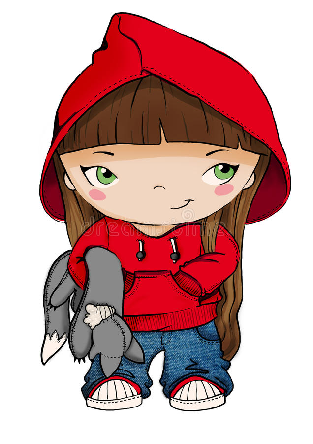 Lite röd ridninghuv vektor illustrationer