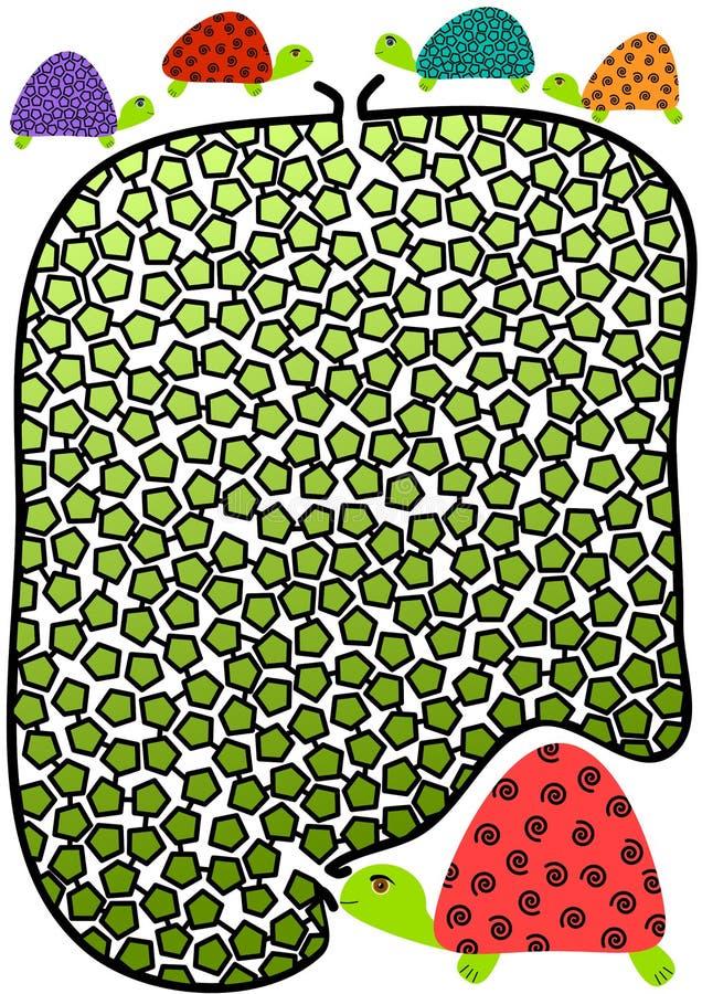 Lite sköldpaddor och fostrar labyrintMaze stock illustrationer