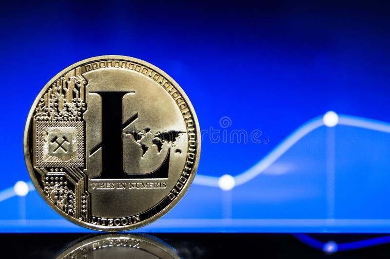 Litecoin är en modern väg av utbytet och denna crypto valuta fotografering för bildbyråer