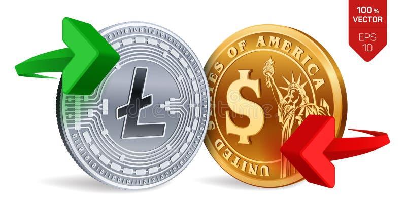 Litecoin al cambio del dollaro Litecoin Moneta del dollaro Cryptocurrency Monete dorate e d'argento con Litecoin ed il dollaro illustrazione di stock