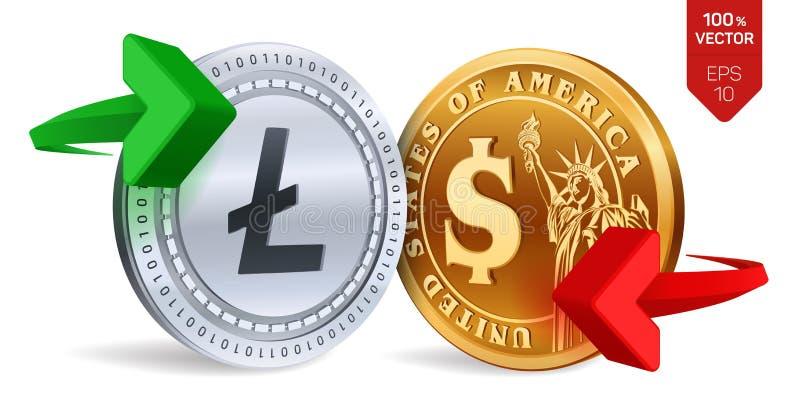 Litecoin al cambio del dollaro Litecoin Moneta del dollaro Cryptocurrency Monete dorate e d'argento con lo symb del dollaro e di  illustrazione di stock