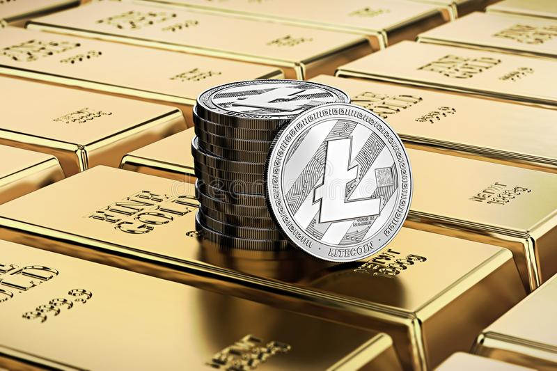 Litecoin coins laying on stacked gold bars gold ingots rendered with shallow depth of field. Concept of highly desirable cryptoc. Urrency. 3D rendering stock illustration