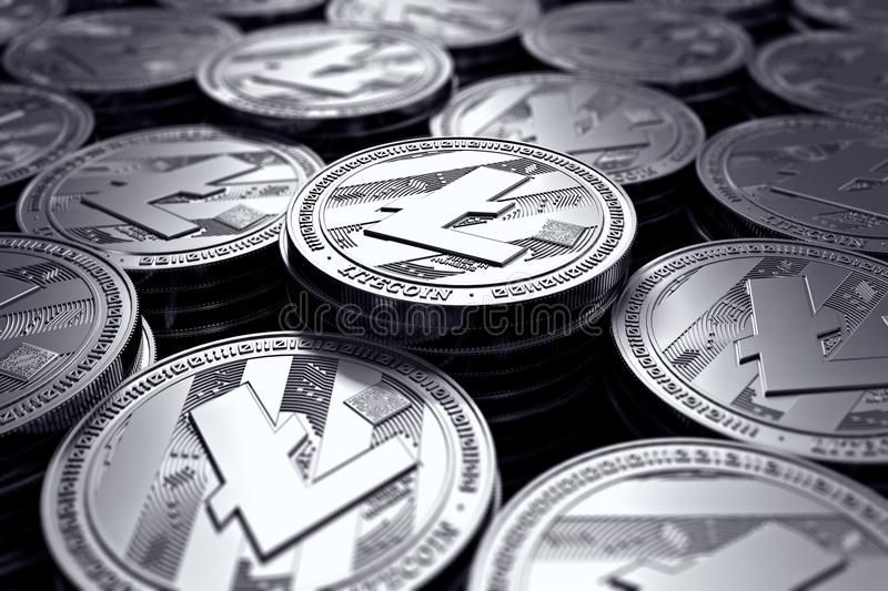 Litecoin coins LTC in blurry closeup. New cryptocurrency and modern banking concept. 3D rendering royalty free illustration