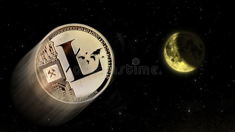 Litecoin crypto księżyc, konceptualny handel środek wybuchowy zdjęcie stock