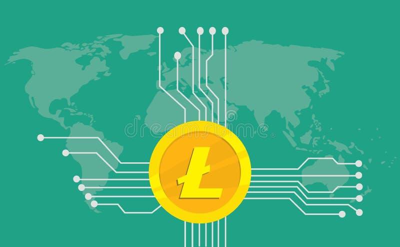 Litecoin cryptocurrency品牌与金黄硬币的象选择和电子点有世界地图背景 皇族释放例证