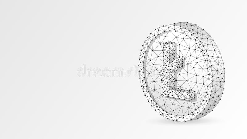 Litecoin cryptocurrency on a Coin. Polygonal business, money, currency, cash, circle concept. Abstract, digital. Wireframe low poly mesh vector white origami stock illustration