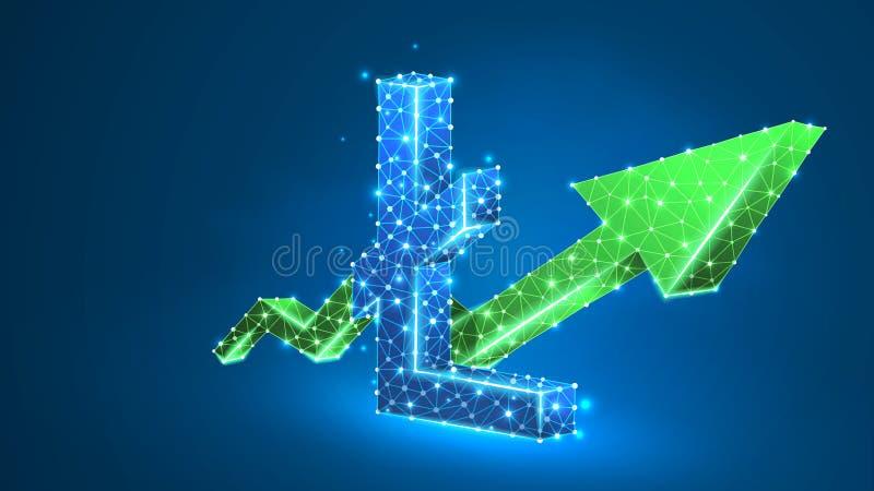 Litecoin-cryptocurrency Diagramm Pfeil des Wachstums grünes Geschäft, Datenbargelderfolg, digitales Finanzkonzept Zusammenfassung stock abbildung