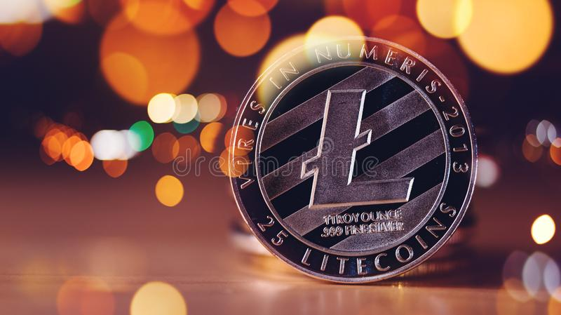 LITECOIN-cryptocurrency Münze lizenzfreie stockfotografie