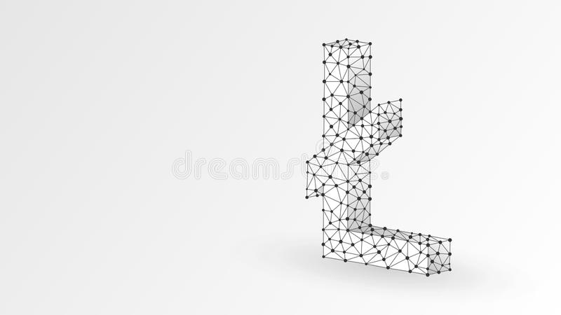 Litecoin cryptocurrency symbol. Business, data cash, digital finance concept. Abstract, digital, wireframe low poly mesh. Vector white origami 3d illustration vector illustration