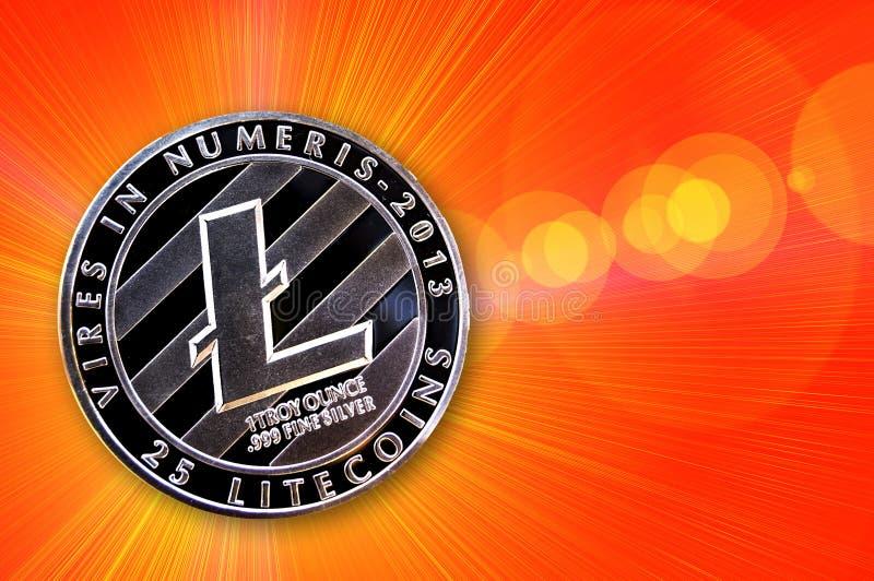 Litecoin es una manera moderna de intercambio y de esta moneda crypto imagen de archivo libre de regalías