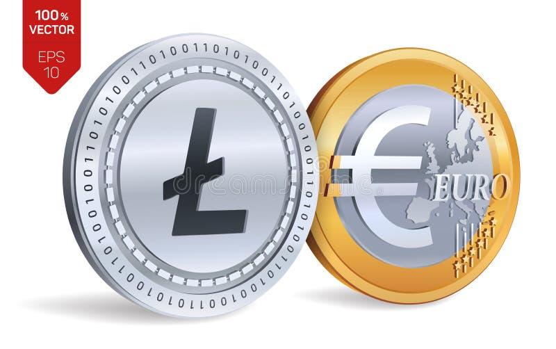 Litecoin Euro isometrische körperliche Münzen 3D Digital-Währung Cryptocurrency Goldene und Silbermünzen mit Litecoin und Euro-sy stock abbildung