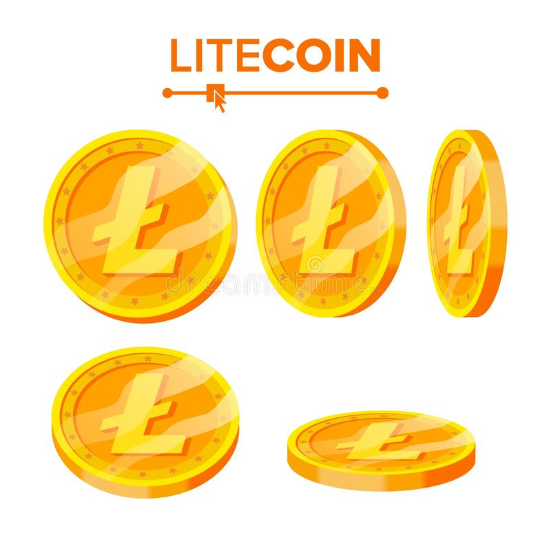 Litecoin Gold Coins Vector Set. Flip Different Angles. Litecoin Virtual Money. Digital Currency. Isolated Flat. Litecoin Gold Coins Vector Set. Flip Different royalty free illustration