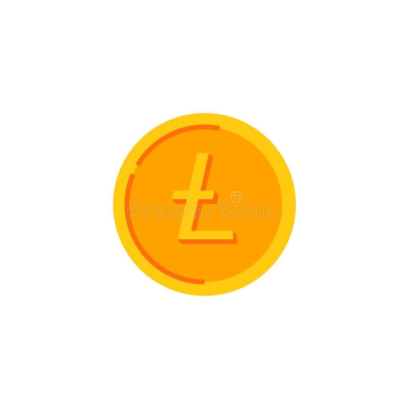 Litecoin Guld- mynt med cryptocurrencylogo Isolerad vektorillustration vektor illustrationer