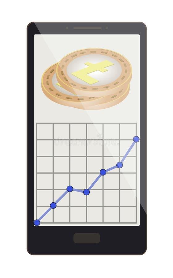Litecoin inventa com gráfico do crescimento em uma tela do telefone ilustração stock