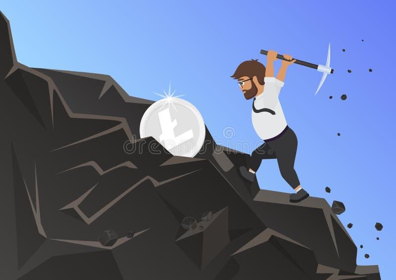 Litecoin minuje brodatego mężczyzny płaską wektorową ilustrację ilustracji