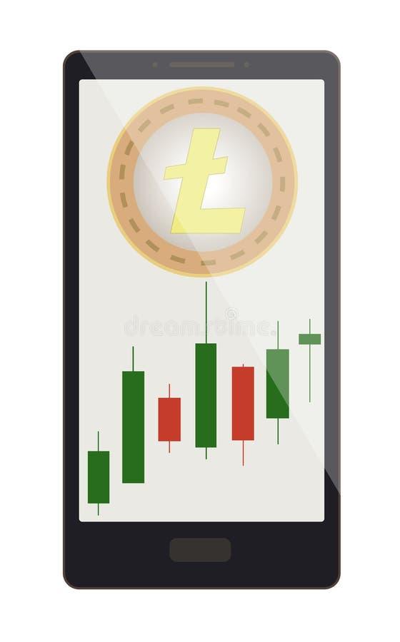 Litecoin moneta z candlestick mapą na telefonu ekranie royalty ilustracja