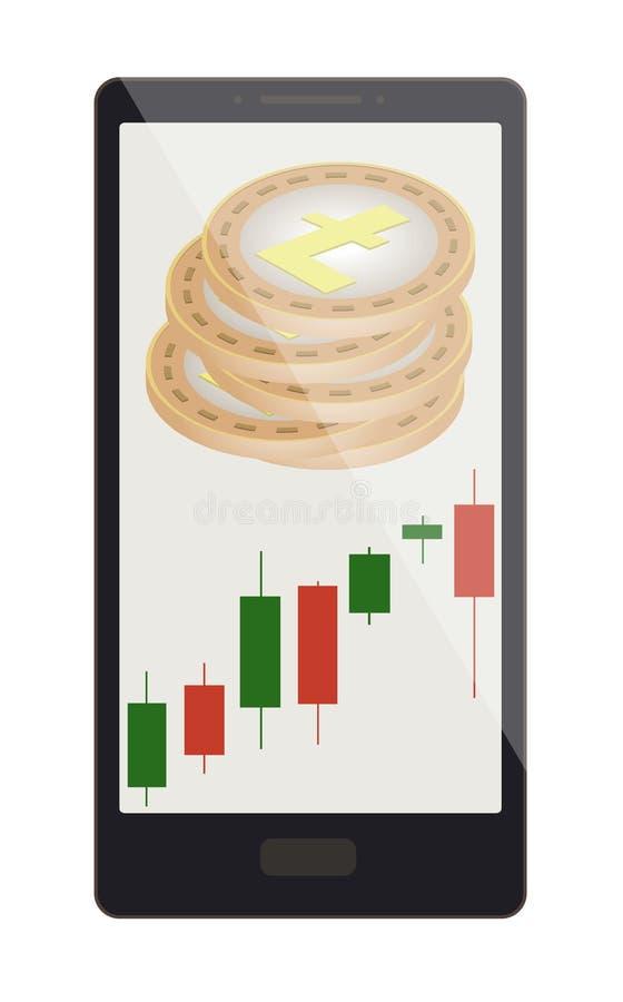 Litecoin monety z candlestick mapą na telefonu ekranie ilustracji