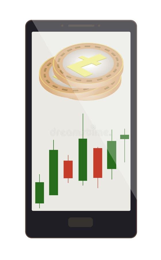 Litecoin monety z candlestick mapą na telefonu ekranie royalty ilustracja
