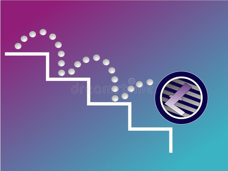 Litecoin que baja abajo ilustración del vector