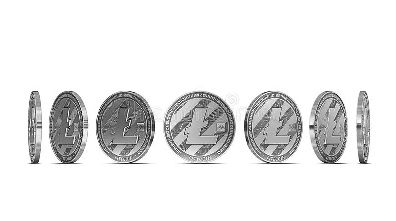 Litecoin shown from seven angles isolated on white background. Easy to cut out and use particular coin angle. 3D rendering stock illustration