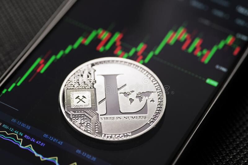Litecoin cryptocurrency trading stock photography
