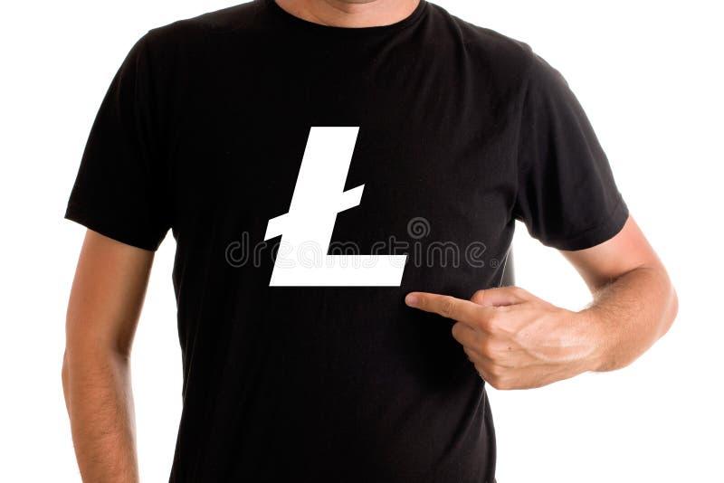 Litecoin symbol på skjortan royaltyfria bilder