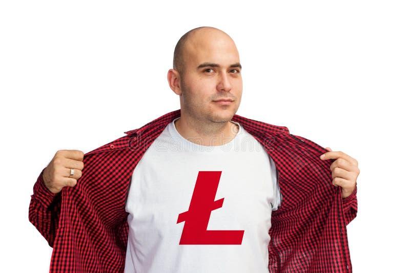 Litecoin symbol på skjortan royaltyfri bild