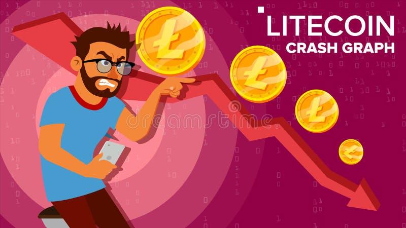 Litecoin trzaska wykresu wektor Zdziwiony inwestor Negatywnego przyrosta wymiany handel Zawalenie się Crypto waluta Litecoin ilustracji