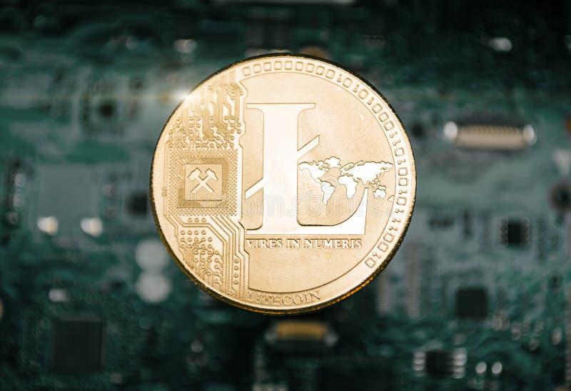 Litecoin ukuwa nazwę, na tle komputerowa płyta główna zdjęcie stock