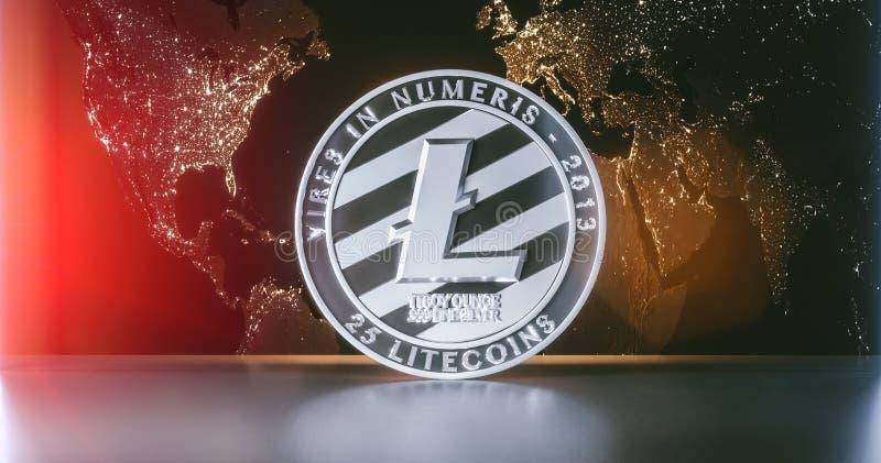 Litecoin with worldmap. Litecoin - lite coin LTC cryptocurrency on dark background