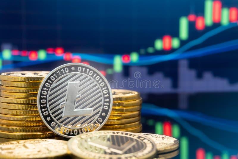 Litecoin y cryptocurrency que invierten concepto ilustración del vector