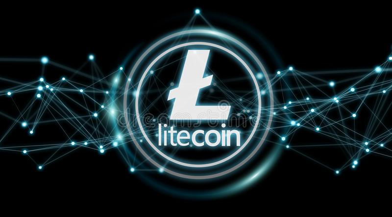 Litecoins cryptocurrency background 3D rendering. Litecoins cryptocurrency on black background 3D rendering vector illustration