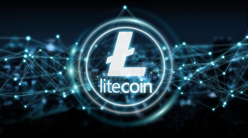 Litecoins cryptocurrency background 3D rendering. Litecoins cryptocurrency on blue city background 3D rendering stock illustration
