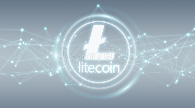 Litecoins cryptocurrency background 3D rendering. Litecoins cryptocurrency on grey background 3D rendering stock illustration