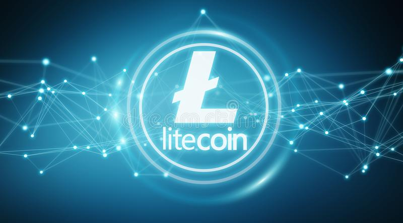 Litecoins cryptocurrency background 3D rendering. Litecoins cryptocurrency on blue background 3D rendering vector illustration