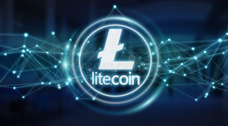 Litecoins cryptocurrency background 3D rendering. Litecoins cryptocurrency on blue server background 3D rendering vector illustration