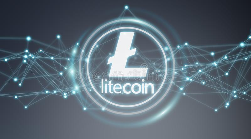 Litecoins cryptocurrency background 3D rendering. Litecoins cryptocurrency on grey background 3D rendering royalty free illustration