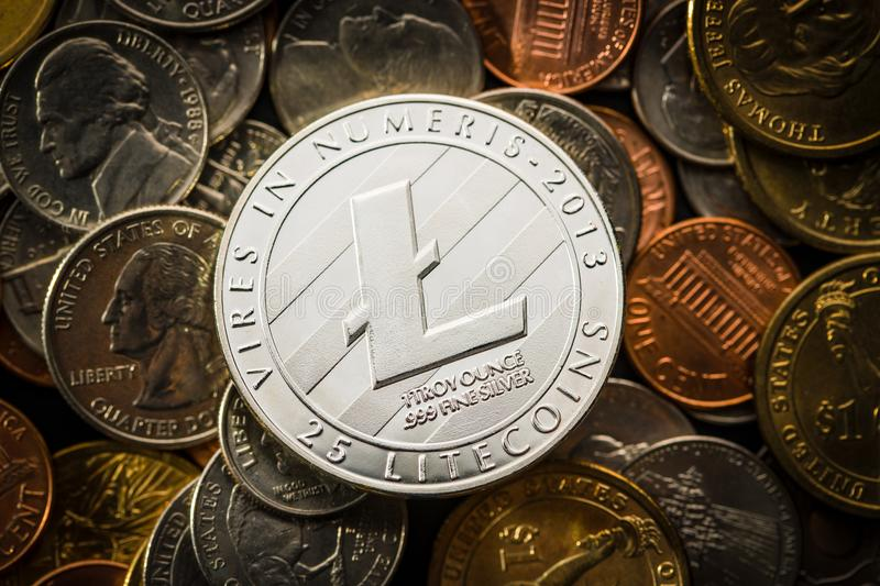 Litecoins Digitale Cryptocurrency stock afbeeldingen