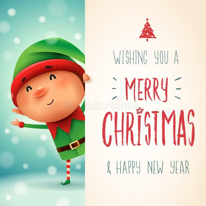 Liten älva med den stora skylten För kalligrafibokstäver för glad jul design royaltyfri illustrationer