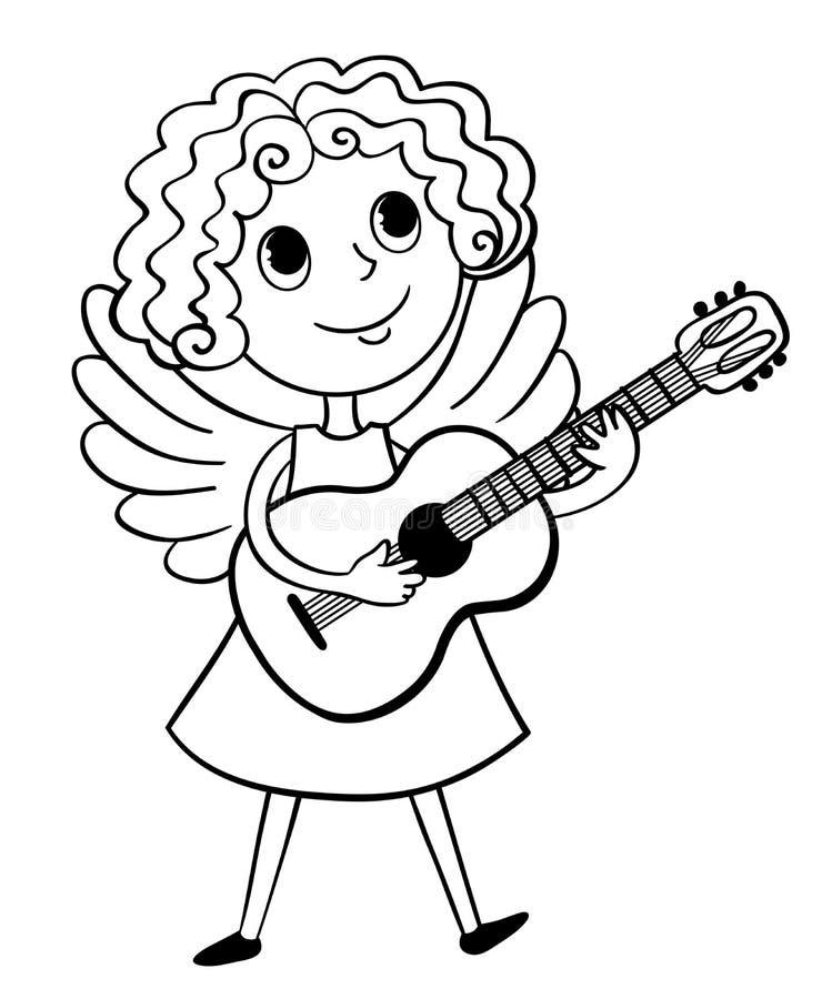 Liten ängel med den svartvita gitarren vektor illustrationer