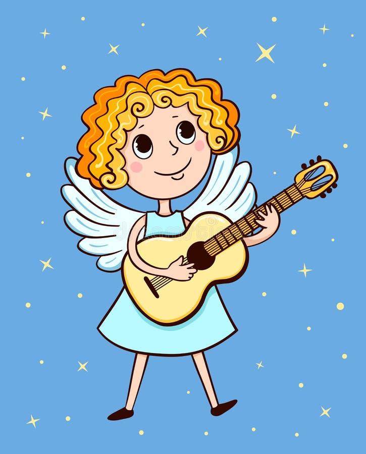 Liten ängel med gitarren och stjärnor stock illustrationer
