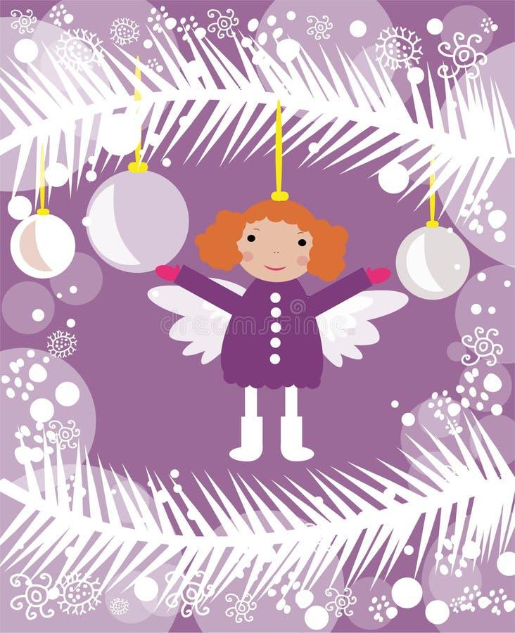 Liten ängel på julträd royaltyfri bild