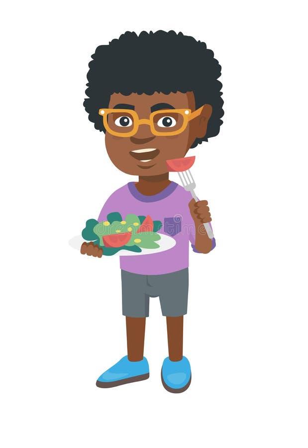 Liten afrikansk amerikanpojke som äter grönsaksallad vektor illustrationer