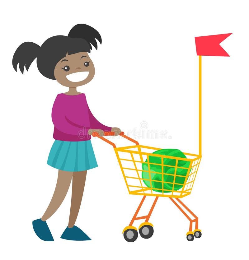Liten afrikansk flicka som går med shoppingvagnen royaltyfri illustrationer