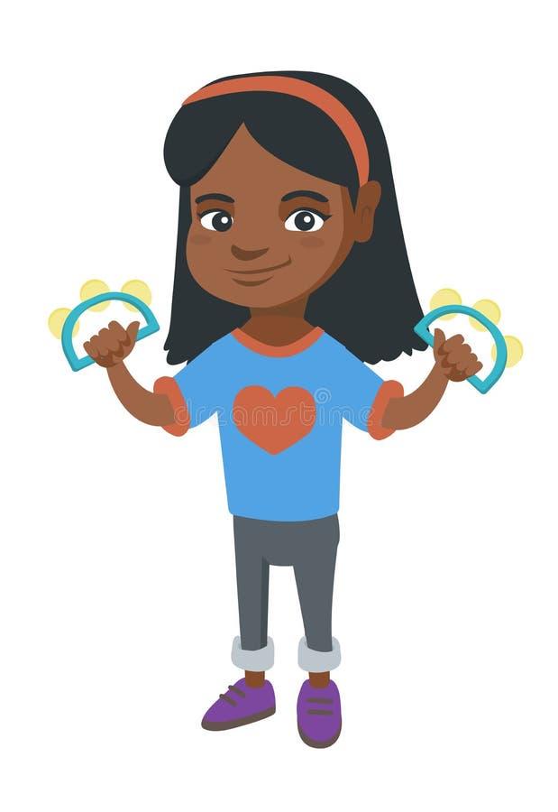 Liten afrikansk flicka som spelar tamburinen vektor illustrationer