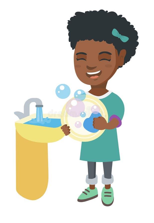 Liten afrikansk flickatvagningdisk i vasken vektor illustrationer