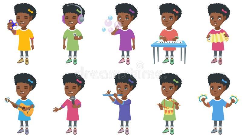 Liten afrikansk uppsättning för flickavektorillustrationer royaltyfri illustrationer
